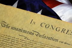 United States Bill of Rights. Preamble to the Constitution of the United States and American Flag Stock Images