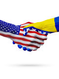 United States, Bosnia and Herzegovina flags, concept cooperation, business, sports competition. United States, Bosnia and Herzegovina, countries flags, handshake stock image