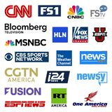United states cable television news networks vector logo collection royalty free stock images