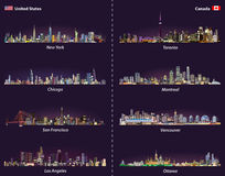 United States and Canadian city skylines at night vector set Royalty Free Stock Image