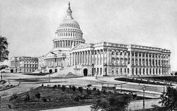 United States Capitol. On engraving from 1892. Published in the Picturesque America by D.Appleton Stock Photo