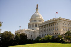 United States Capitol. In Washington, DC. Flags show congress and senate are in session Royalty Free Stock Photo