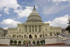 United States Capitol building. Exterior of United States Capitol building under cloudscape, Washington, D.C, U.S.A royalty free stock photo