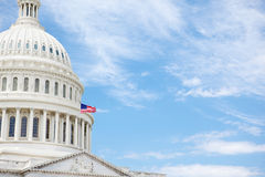 United States Capitol Building. The United States Capitol building in Washington DC with American flag flying photographed for copy space Stock Photography