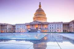 The United States Capitol building. With the dome lit up at night Royalty Free Stock Images
