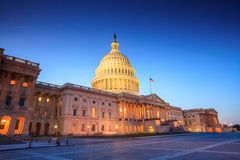 The United States Capitol building. With the dome lit up at night Stock Image