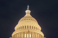 United States Capitol Building Dome at Night, Washington,D.C.. Stock Images