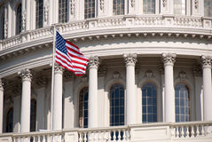 United States Capitol building, with flag. Close-up photo of the United States Capitol Building in Washington, D.C Royalty Free Stock Photo