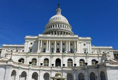 United States Capitol Building, on Capitol Hill in Washington DC. The Western facade and cupola detail of the United States Capitol Building, on Capitol Hill in stock photo