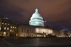 United States Capitol Building at night. Washington, DC. stock photo