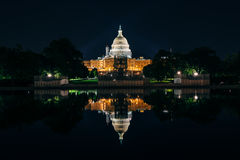 The United States Capitol Building and Reflecting Pool at night, in Washington, DC. royalty free stock image