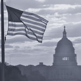 United States Capitol building silhouette at sunrise, Washington DC - Black and White Stock Photography