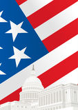 United States Capitol Building in Washington DC. In front of American flag Stock Photography