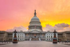United States Capitol building in Washington DC. The United States Capitol building in Washington DC, sunrise Stock Photos