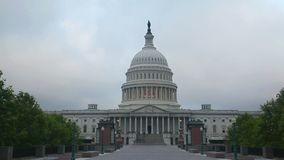 United States Capitol building in Washington in the morning stock footage