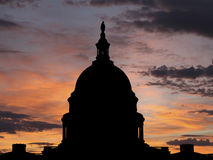 United States Capitol Sunrise. United States Capitol dome silhouette with sunrise sky Royalty Free Stock Photo