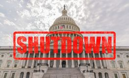 United States Capitol Government Shutdown. United States Capitol Building in Washington, DC with Shutdown stamp effect Royalty Free Stock Photography