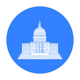 United States Capitol icon in black style isolated on white background. USA country symbol stock vector illustration. Royalty Free Stock Image