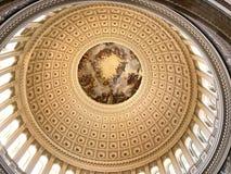 United States Capitol, Rotunda: The Apotheosis of Washington. Cupola and ceiling of the rotunda - capitol with fresco above, Washington DC Stock Image