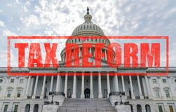 United States Capitol Tax Reform. United States Capitol Building in Washington, DC with Tax Reform stamp effect Royalty Free Stock Photos
