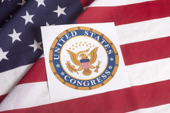 The United States Capitol with USA flag Stock Photography