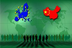 United States and China. Work team between the United States and China Royalty Free Stock Photo