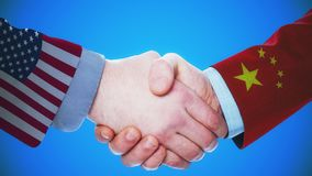 United States - China / Handshake concept animation about countries and politics / With matte channel. Handshaking of the men wearing flag pattern suit 4K stock footage