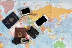 United States and Chinese passports with other travel items Royalty Free Stock Image
