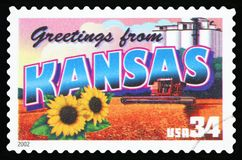 US Postage Stamp. UNITED STATES - CIRCA 2002: a postage stamp printed in USA showing an image of the Kansas state, circa 2002 Stock Photography