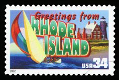 US Postage stamp. UNITED STATES - CIRCA 2002: a postage stamp printed in USA showing an image of the Rhode Island state, circa 2002 royalty free stock image