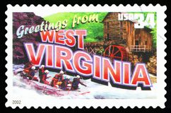 US Postage Stamp. UNITED STATES - CIRCA 2002: a postage stamp printed in USA showing an image of the West Virginia state, circa 2002 Stock Photography