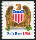 Eagle and Shield. UNITED STATES - CIRCA 1991: stamp printed by United states, shows Eagle and Shield, circa 1991 royalty free stock images