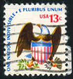 Eagle and Shield. UNITED STATES - CIRCA 1975: stamp printed by United states, shows Eagle and Shield, circa 1975 royalty free stock photo