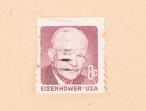 UNITED STATES - CIRCA 1970: A stamp printed in the US shows president Eisenhower, circa 1970. A stamp printed in the US shows president Eisenhower, circa 1970 royalty free stock photography