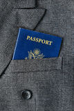 United States Citizenship Passport in Suit Pocket stock image