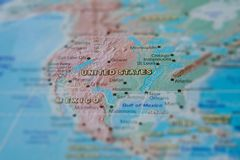 United States in close up on the map. Focus on the name of country. Vignetting effect.  royalty free stock images