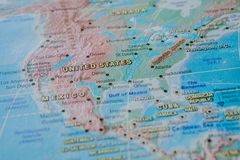 United States in close up on the map. Focus on the name of country. Vignetting effect.  stock photography