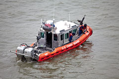 The United States Coast Guard Boat on Hudson River. The United States Coast Guard (USCG) is a branch of the United States Armed Forces and one of seven uniformed Royalty Free Stock Photos