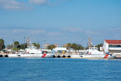 United States Coast Guard boats St. Pete Florida. Two United States Coast Guard boats docked at the Saint Petersburg Florida Coast Guard station Stock Photos