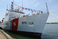 United States Coast Guard Cutter Forward docked in Brooklyn Cruise Terminal during Fleet Week 2016 Coast, Cutter, War, Week, Guard. NEW YORK - MAY 26, 2016 Royalty Free Stock Photos