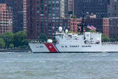 United States Coast Guard Cutter Forward. NEW YORK, NEW YORK - May 25, 2016: The US Coast Guard Cutter Forward sails the Hudson River during Fleet Week`s Parade Stock Photography