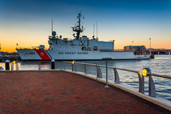 United States Coast Guard ship in the Boston Inner Harbor, in Bo Stock Photography