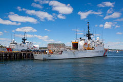 United States Coast Guard ships docked in Boston Harbor, USA. Boston, Massachusetts, USA - July 7, 2016 : United States Coast Guard ships docked in Boston Harbor stock image