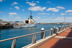 United States Coast Guard ships docked in Boston Harbor, USA. Boston, Massachusetts, USA - July 7, 2016 : United States Coast Guard ships docked in Boston Harbor Stock Image