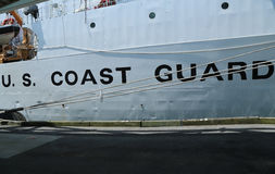 United States Coast Guard sign on United States Coast Guard Cutter Forward. NEW YORK - MAY 26, 2016: United States Coast Guard sign on United States Coast Guard Stock Image