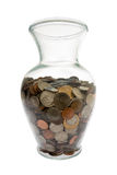 United States Coins collected in glass vase Royalty Free Stock Photos