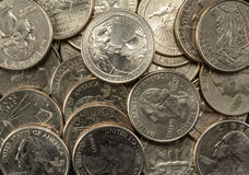 United States Coins quarters in a pile, poverty, riches, savings stock photo