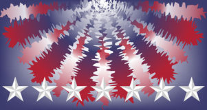 United States colors bunting and stars. USA red, white and blue bunting with a row of beveled stars Royalty Free Stock Images