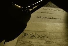 United States Constitution and Amendments with gavel royalty free stock photography