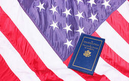 United States Constitution. The Constitution of the United States of America with the American Flag royalty free stock photos